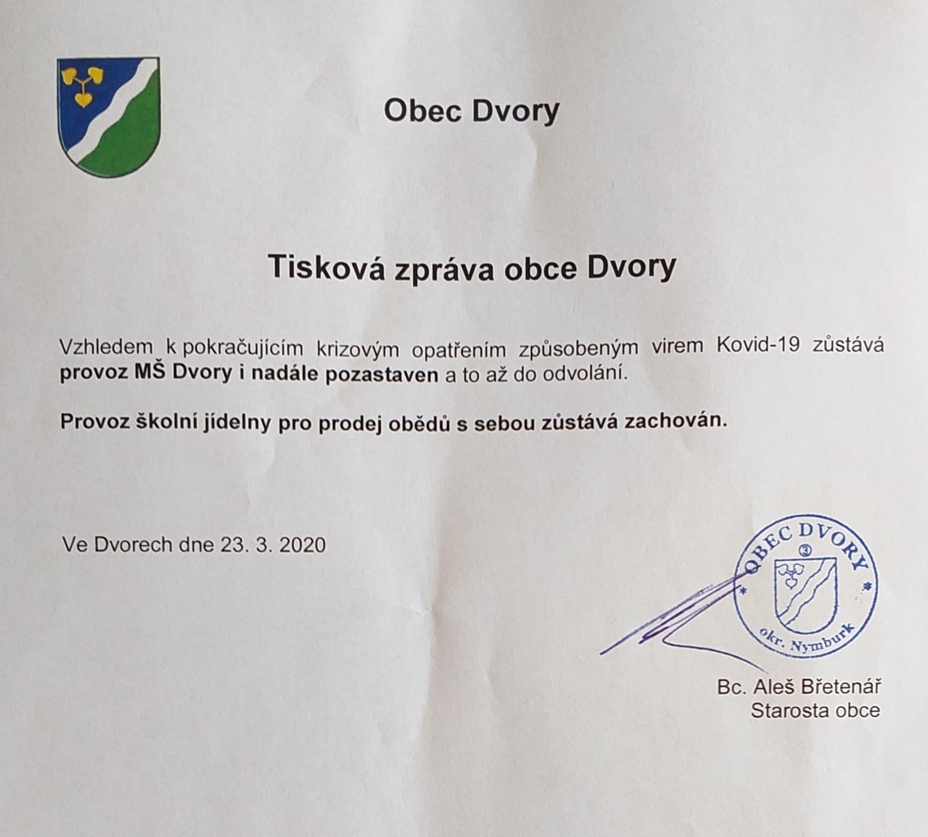 Tisková zpráva obce Dvory