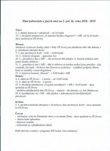 Školní a kulturní akce 2. pol. šk. roku 2018/2019