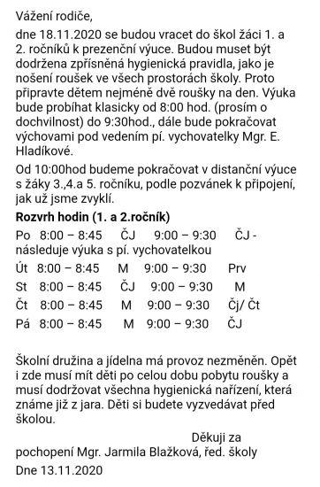 Návrat 1. a 2. ročníku do školy od 18.11.2020