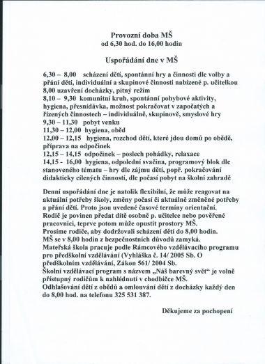 Základní informace o MŠ